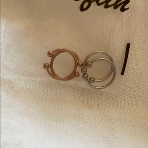 Faux septum rings - bundle of silver and rose gold